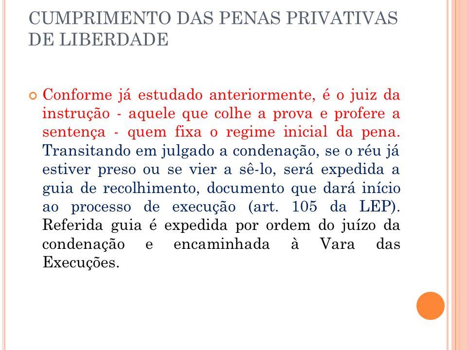 CUMPRIMENTO DAS PENAS PRIVATIVAS DE LIBERDADE