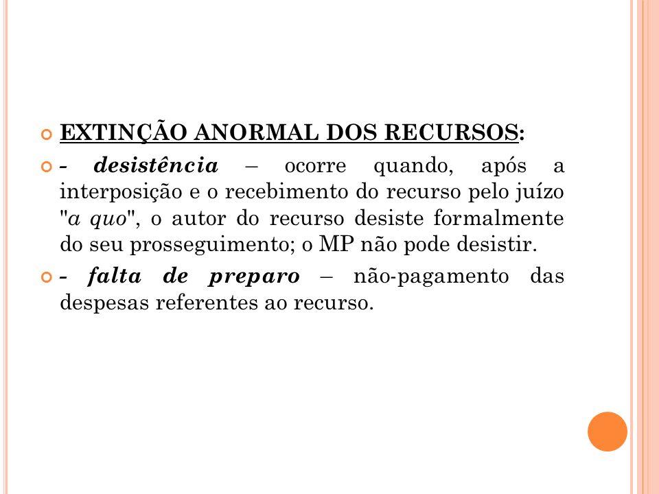 EXTINÇÃO ANORMAL DOS RECURSOS: