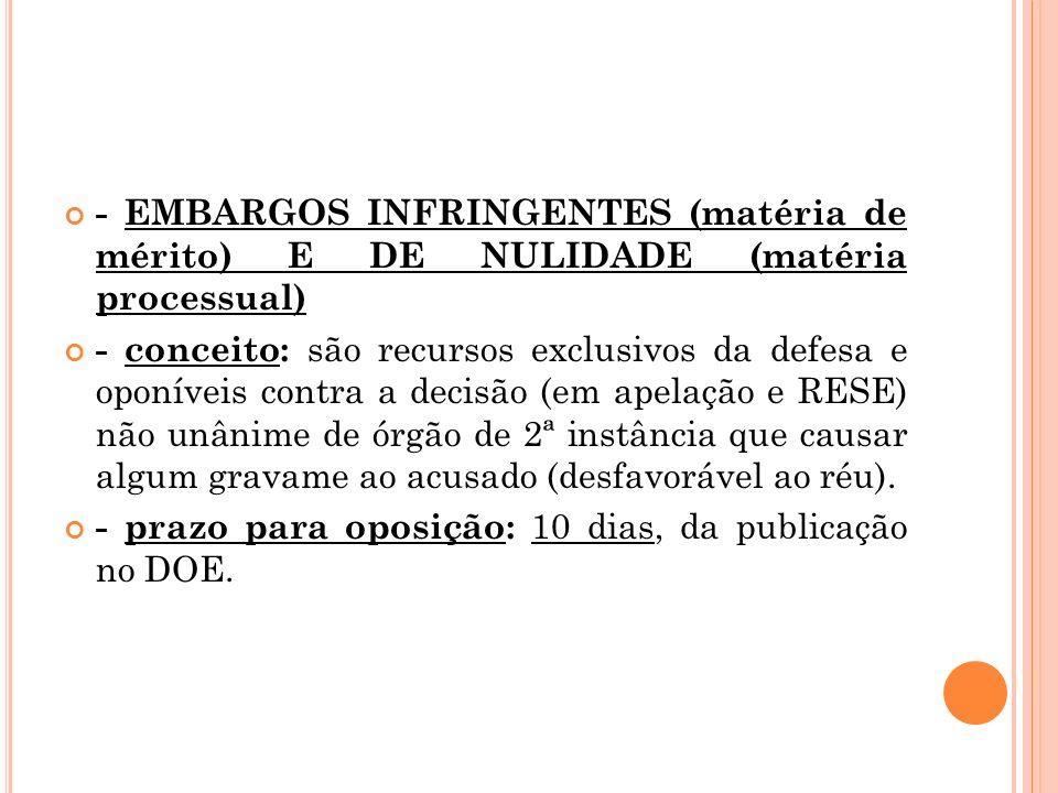 - EMBARGOS INFRINGENTES (matéria de mérito) E DE NULIDADE (matéria processual)