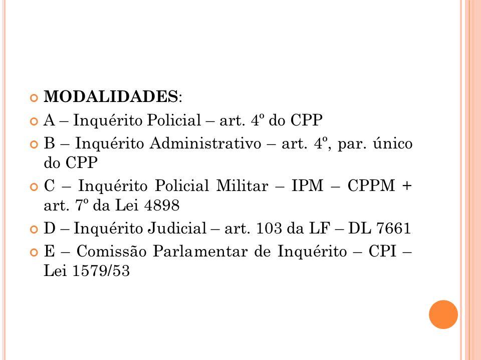MODALIDADES: A – Inquérito Policial – art. 4º do CPP. B – Inquérito Administrativo – art. 4º, par. único do CPP.