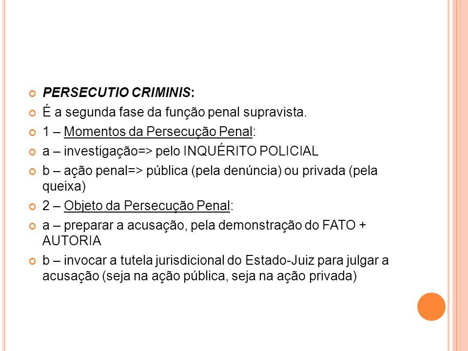 PERSECUTIO CRIMINIS: É a segunda fase da função penal supravista. 1 – Momentos da Persecução Penal: