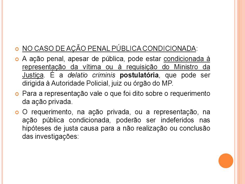 NO CASO DE AÇÃO PENAL PÚBLICA CONDICIONADA: