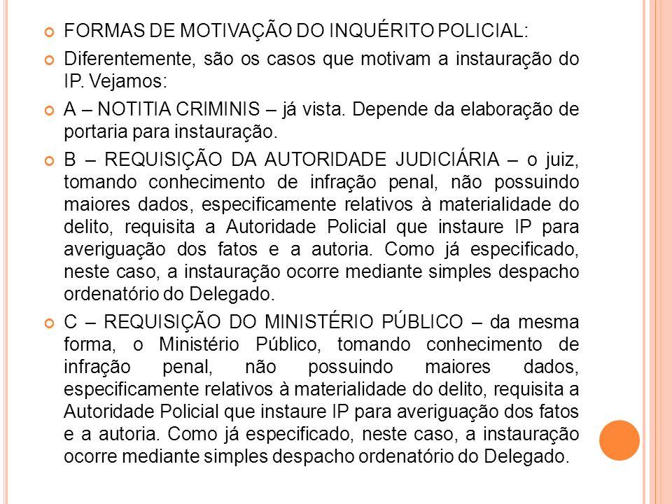 FORMAS DE MOTIVAÇÃO DO INQUÉRITO POLICIAL: