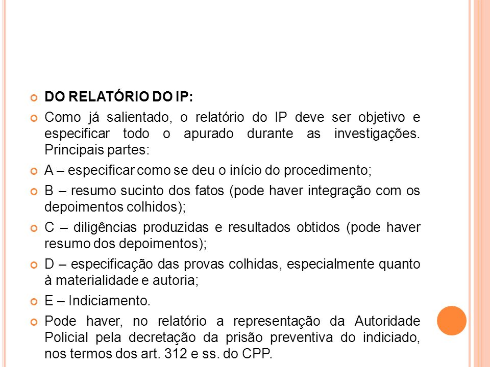 DO RELATÓRIO DO IP: