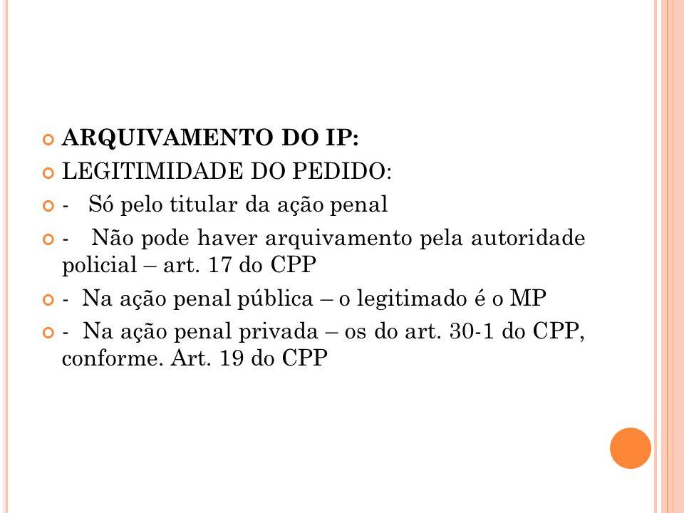 ARQUIVAMENTO DO IP: LEGITIMIDADE DO PEDIDO: - Só pelo titular da ação penal.