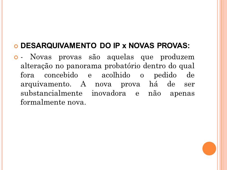 DESARQUIVAMENTO DO IP x NOVAS PROVAS: