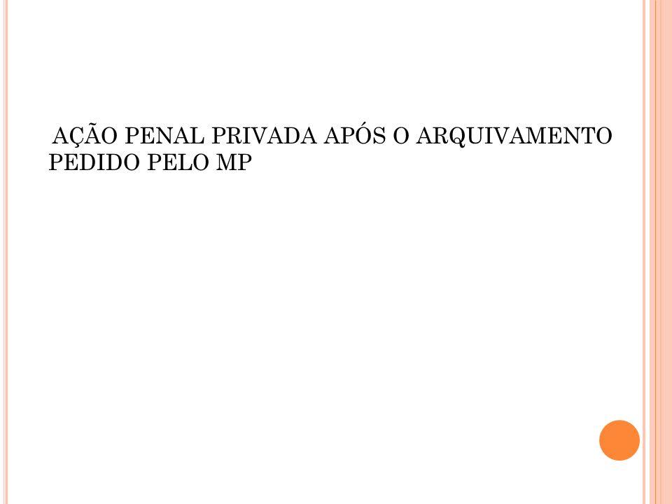 AÇÃO PENAL PRIVADA APÓS O ARQUIVAMENTO PEDIDO PELO MP