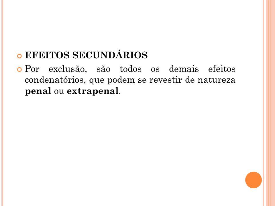 EFEITOS SECUNDÁRIOS Por exclusão, são todos os demais efeitos condenatórios, que podem se revestir de natureza penal ou extrapenal.