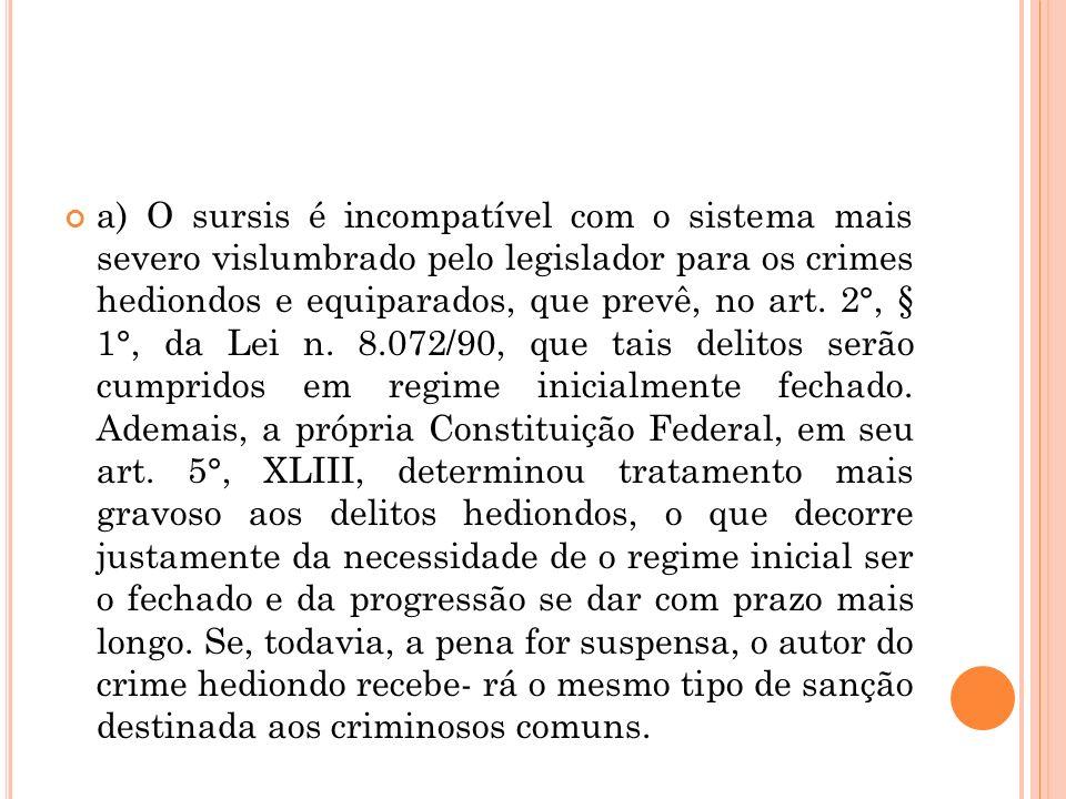 a) O sursis é incompatível com o sistema mais severo vislumbrado pelo legislador para os crimes hediondos e equiparados, que prevê, no art.