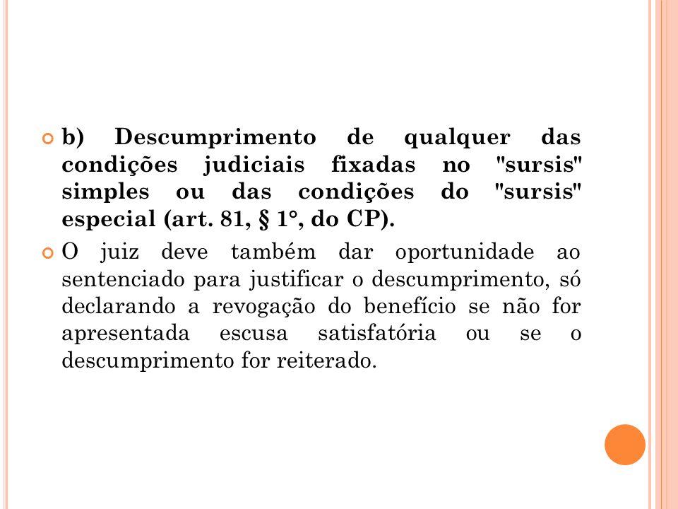 b) Descumprimento de qualquer das condições judiciais fixadas no sursis simples ou das condições do sursis especial (art. 81, § 1°, do CP).
