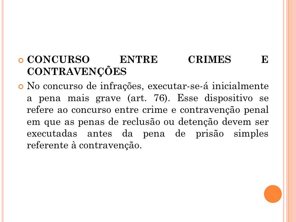 CONCURSO ENTRE CRIMES E CONTRAVENÇÕES