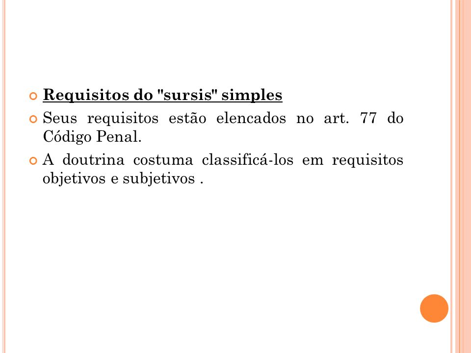 Requisitos do sursis simples