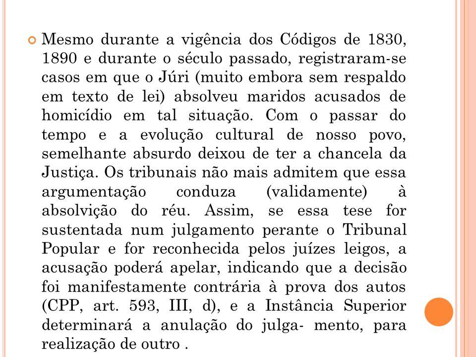 Mesmo durante a vigência dos Códigos de 1830, 1890 e durante o século passado, registraram-se casos em que o Júri (muito embora sem respaldo em texto de lei) absolveu maridos acusados de homicídio em tal situação.