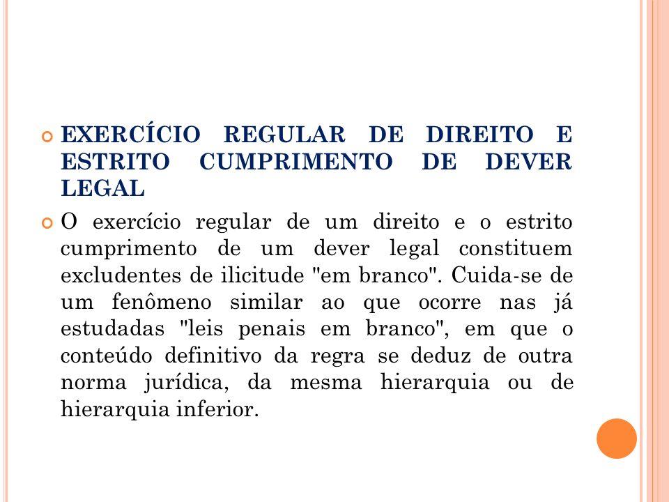 EXERCÍCIO REGULAR DE DIREITO E ESTRITO CUMPRIMENTO DE DEVER LEGAL