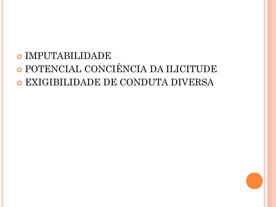 IMPUTABILIDADE POTENCIAL CONCIÊNCIA DA ILICITUDE EXIGIBILIDADE DE CONDUTA DIVERSA