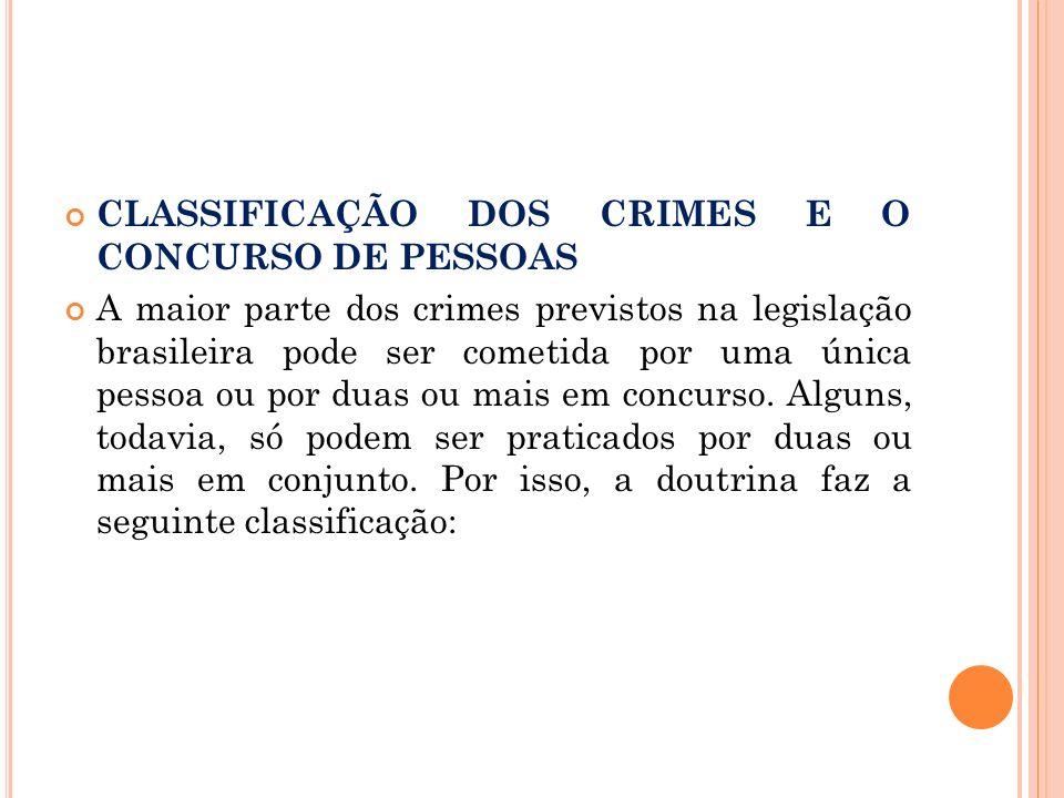 CLASSIFICAÇÃO DOS CRIMES E O CONCURSO DE PESSOAS