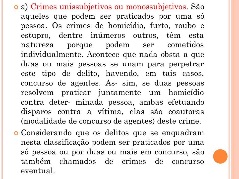 a) Crimes unissubjetivos ou monossubjetivos