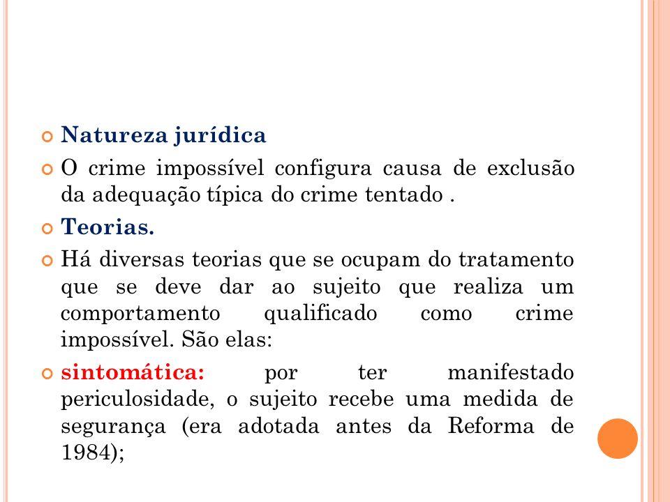 Natureza jurídica O crime impossível configura causa de exclusão da adequação típica do crime tentado .