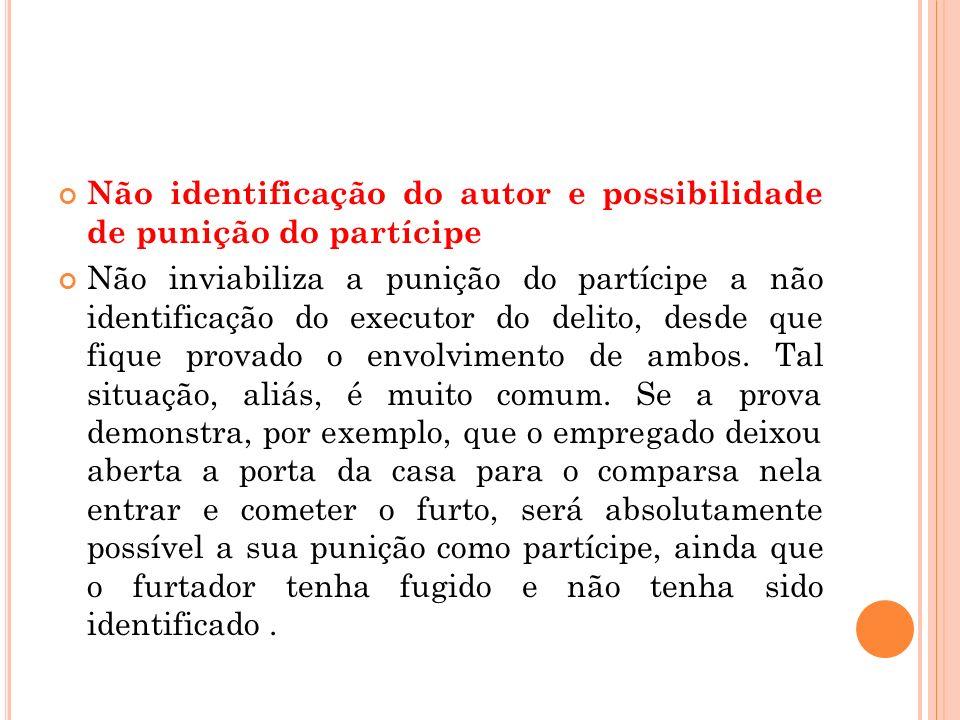 Não identificação do autor e possibilidade de punição do partícipe