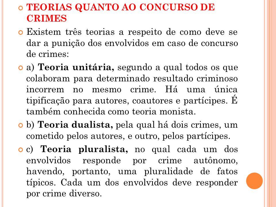TEORIAS QUANTO AO CONCURSO DE CRIMES