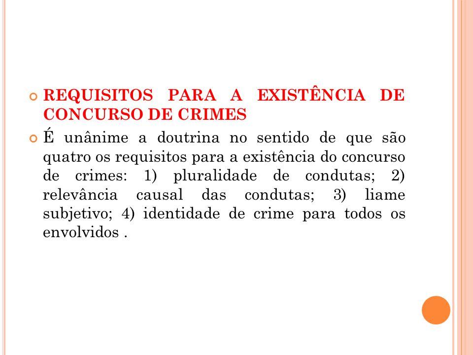 REQUISITOS PARA A EXISTÊNCIA DE CONCURSO DE CRIMES