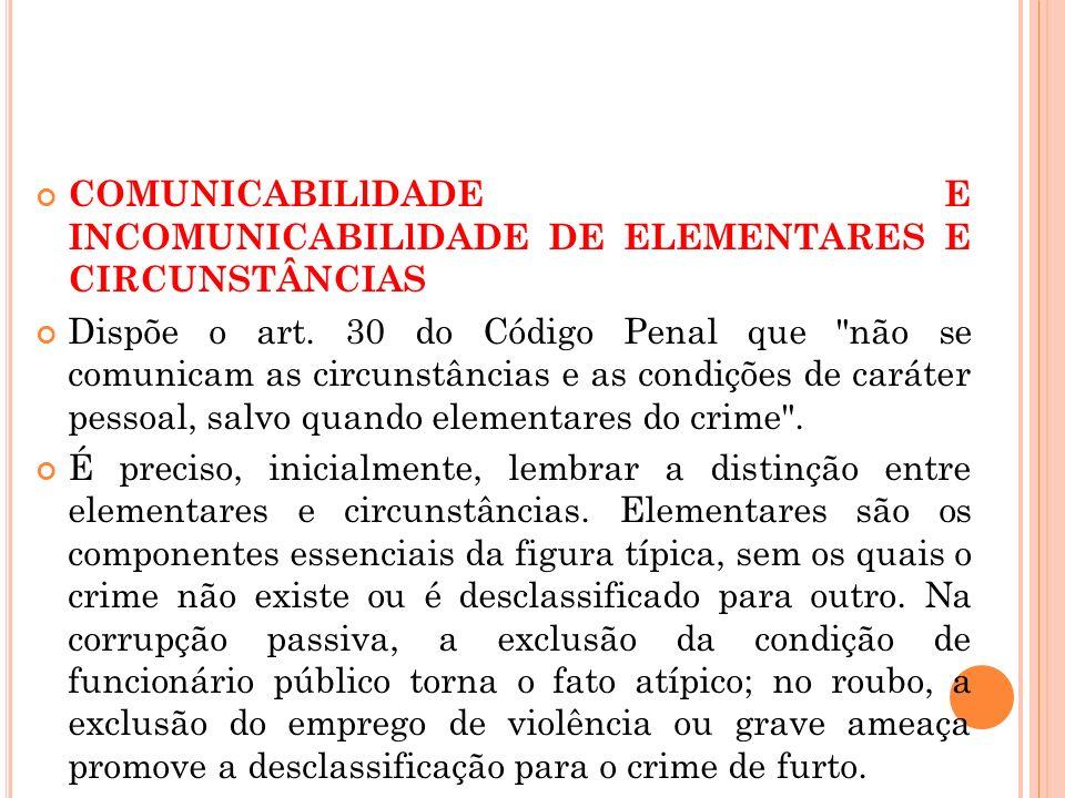 COMUNICABILlDADE E INCOMUNICABILlDADE DE ELEMENTARES E CIRCUNSTÂNCIAS