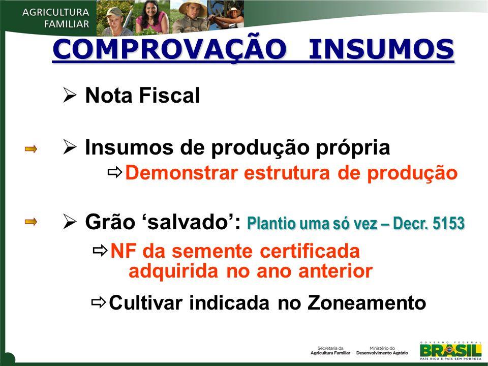 COMPROVAÇÃO INSUMOS Nota Fiscal