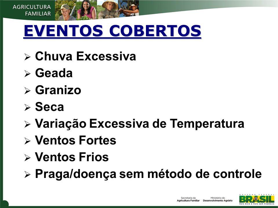 EVENTOS COBERTOS Chuva Excessiva Geada Granizo Seca