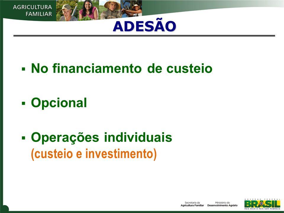ADESÃO No financiamento de custeio Opcional