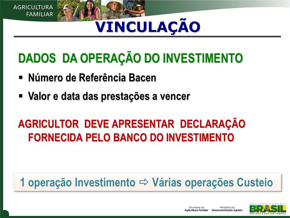 VINCULAÇÃO DADOS DA OPERAÇÃO DO INVESTIMENTO
