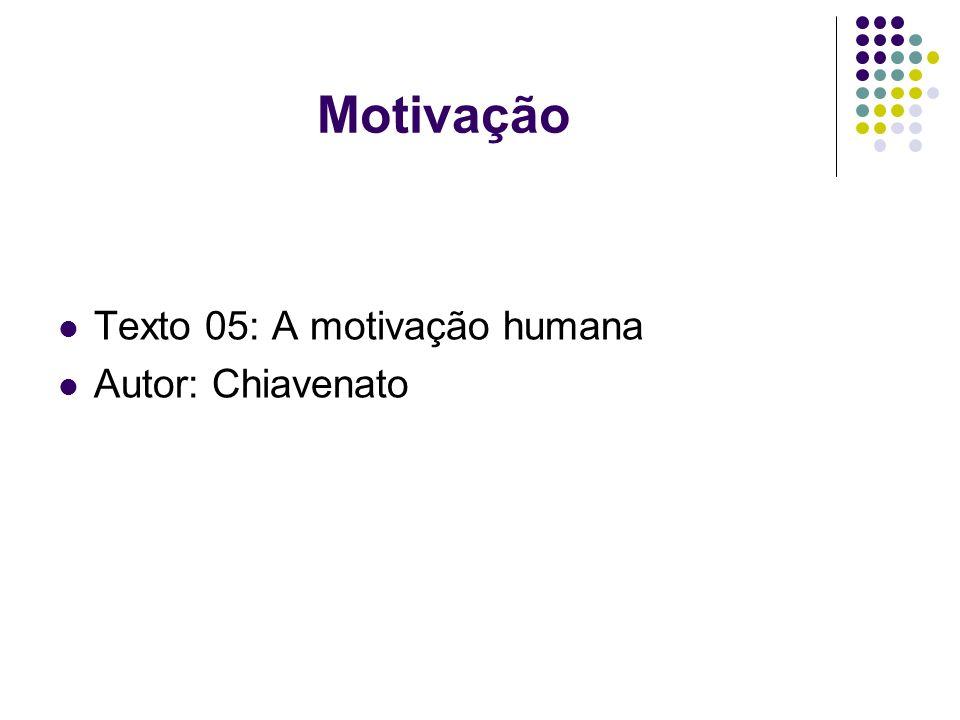 Motivação Texto 05: A motivação humana Autor: Chiavenato