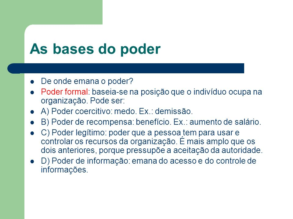 As bases do poder De onde emana o poder