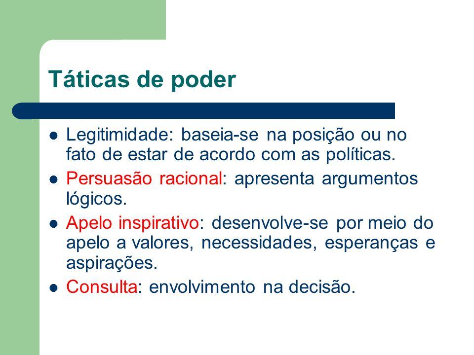 Táticas de poderLegitimidade: baseia-se na posição ou no fato de estar de acordo com as políticas. Persuasão racional: apresenta argumentos lógicos.