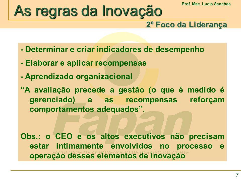 2º Foco da Liderança - Determinar e criar indicadores de desempenho. - Elaborar e aplicar recompensas.