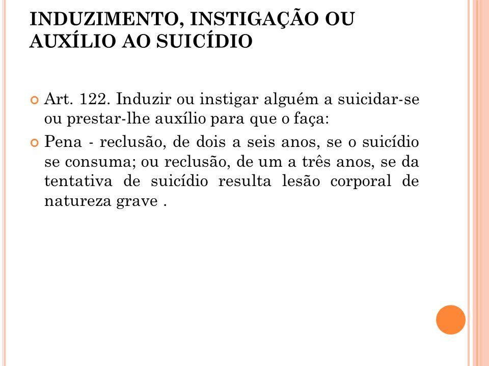 INDUZIMENTO, INSTIGAÇÃO OU AUXÍLIO AO SUICÍDIO