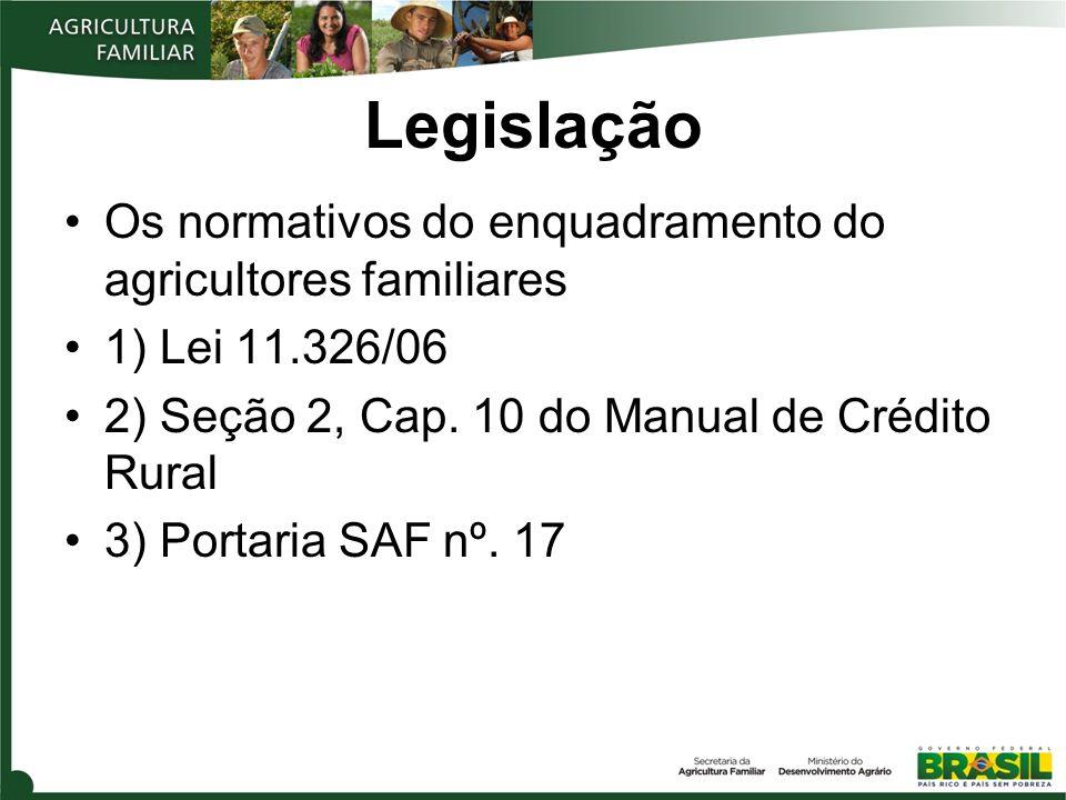Legislação Os normativos do enquadramento do agricultores familiares