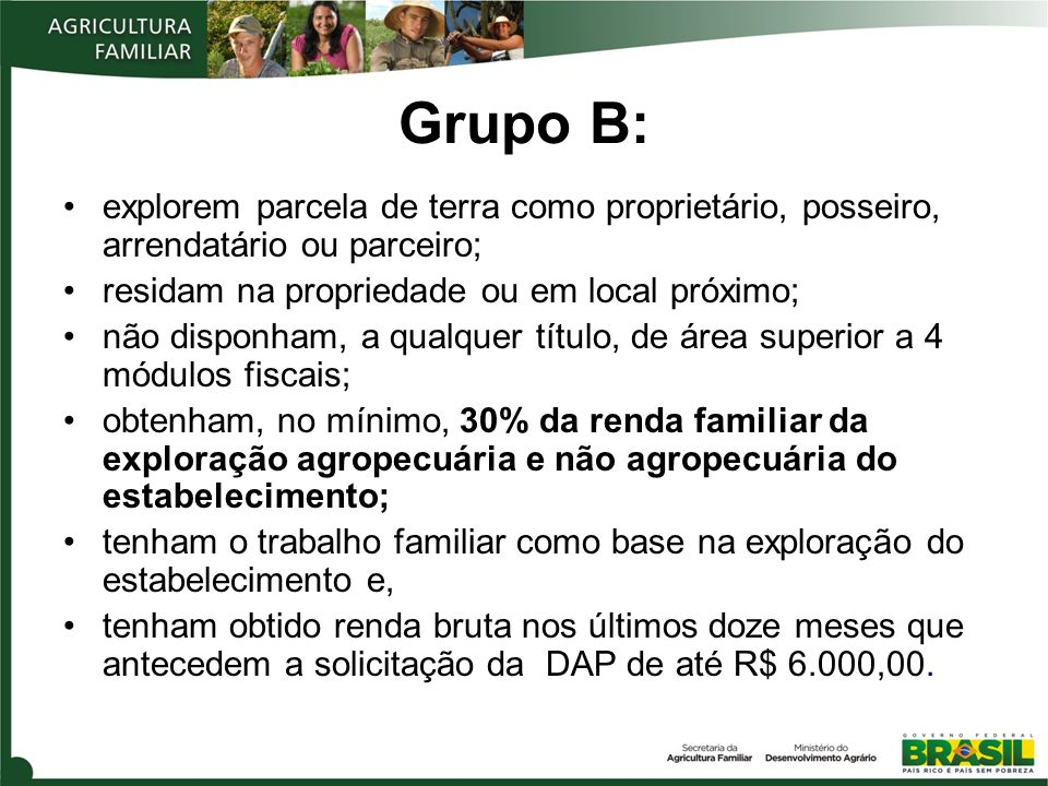 Grupo B:explorem parcela de terra como proprietário, posseiro, arrendatário ou parceiro; residam na propriedade ou em local próximo;