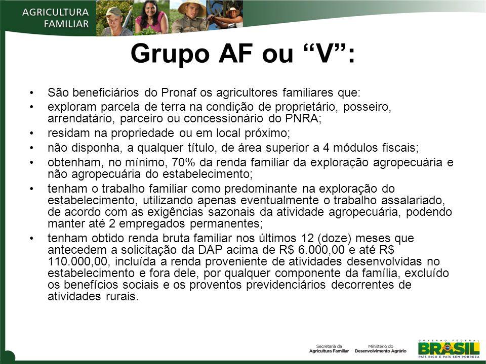 Grupo AF ou V :São beneficiários do Pronaf os agricultores familiares que: