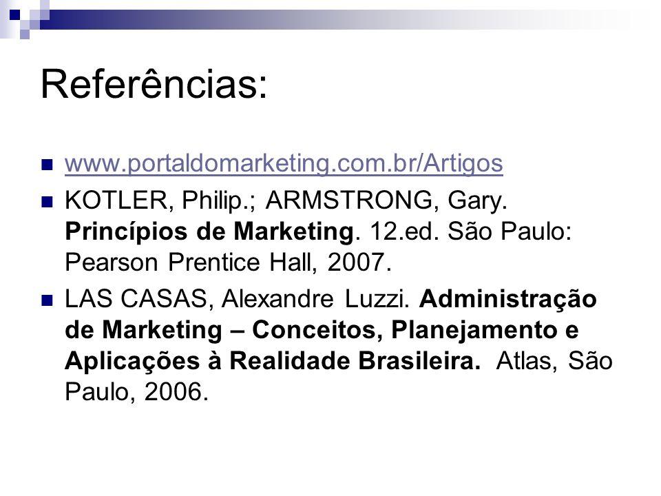 Referências: www.portaldomarketing.com.br/Artigos