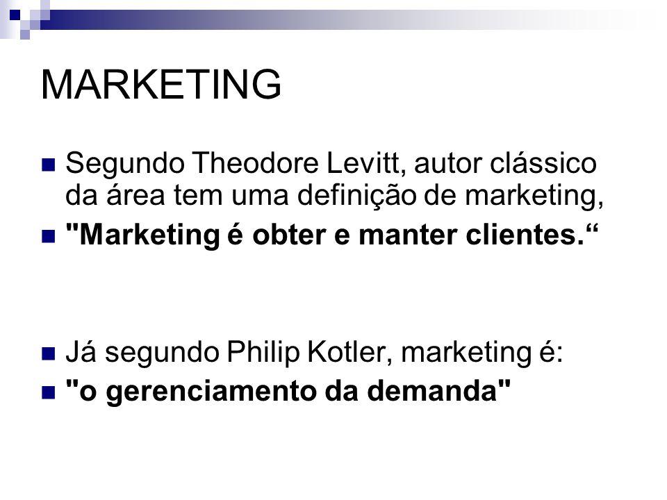 MARKETING Segundo Theodore Levitt, autor clássico da área tem uma definição de marketing, Marketing é obter e manter clientes.