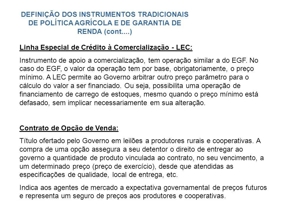 DEFINIÇÃO DOS INSTRUMENTOS TRADICIONAIS DE POLÍTICA AGRÍCOLA E DE GARANTIA DE RENDA (cont....)