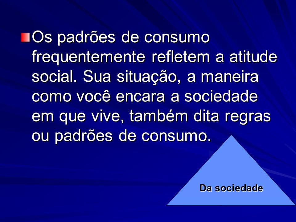 Os padrões de consumo frequentemente refletem a atitude social