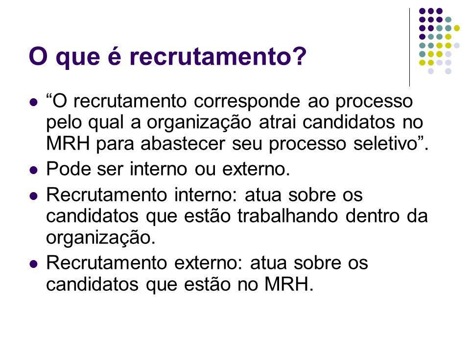 O que é recrutamento O recrutamento corresponde ao processo pelo qual a organização atrai candidatos no MRH para abastecer seu processo seletivo .