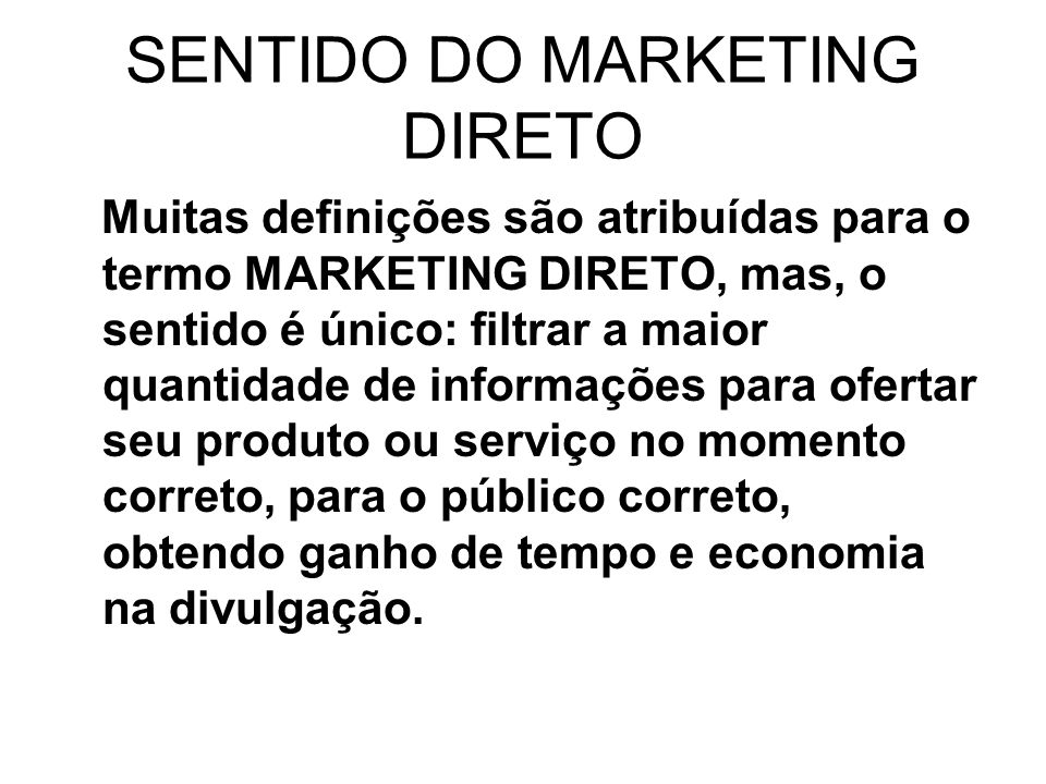 SENTIDO DO MARKETING DIRETO