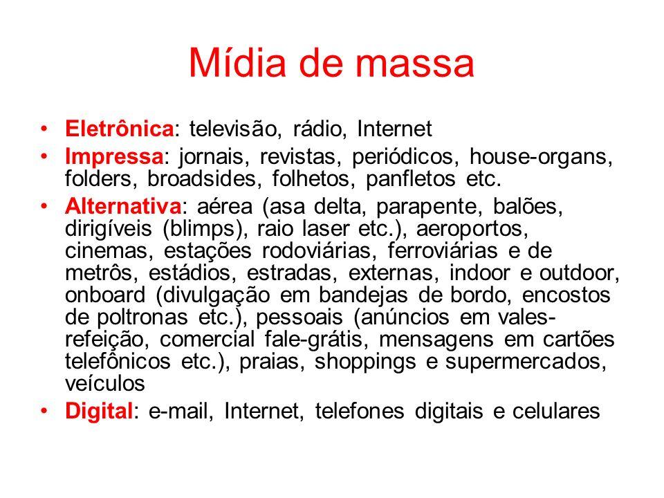 Mídia de massa Eletrônica: televisão, rádio, Internet