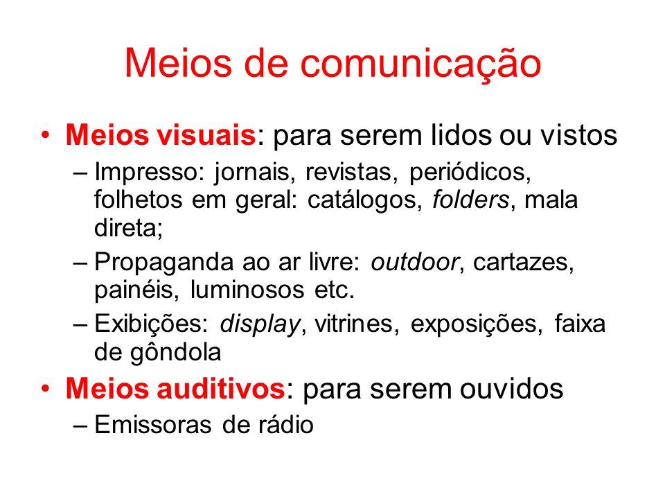 Meios de comunicação Meios visuais: para serem lidos ou vistos