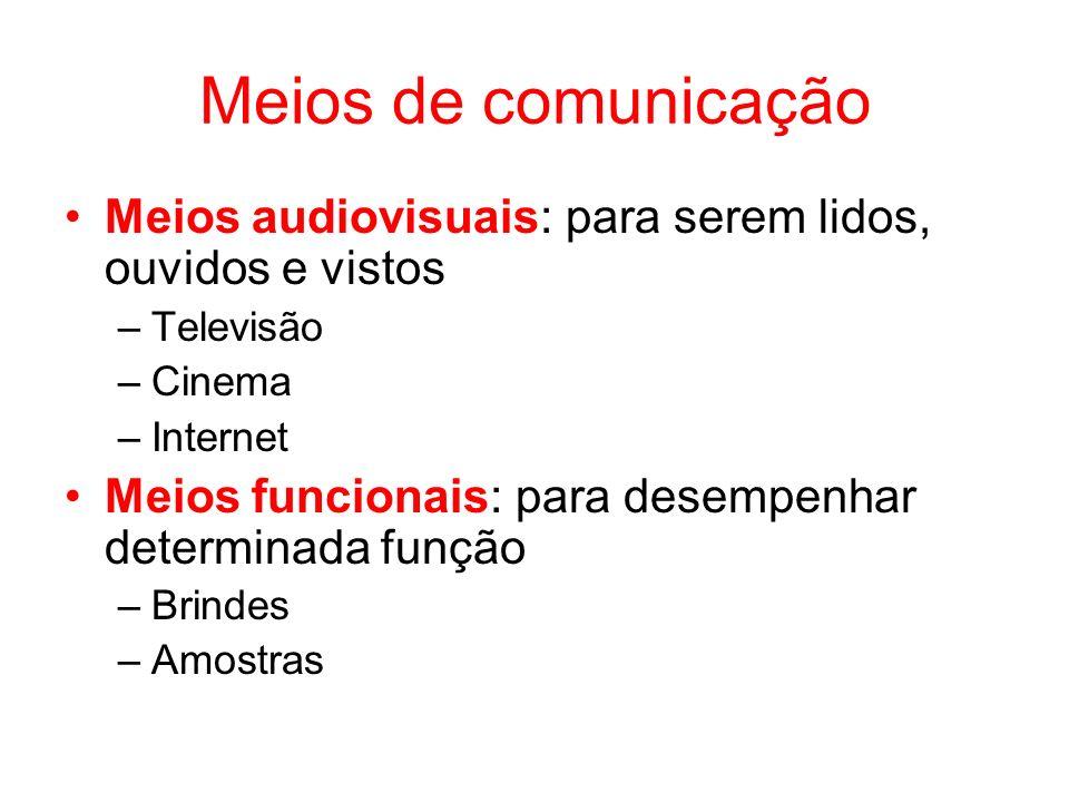 Meios de comunicação Meios audiovisuais: para serem lidos, ouvidos e vistos. Televisão. Cinema. Internet.