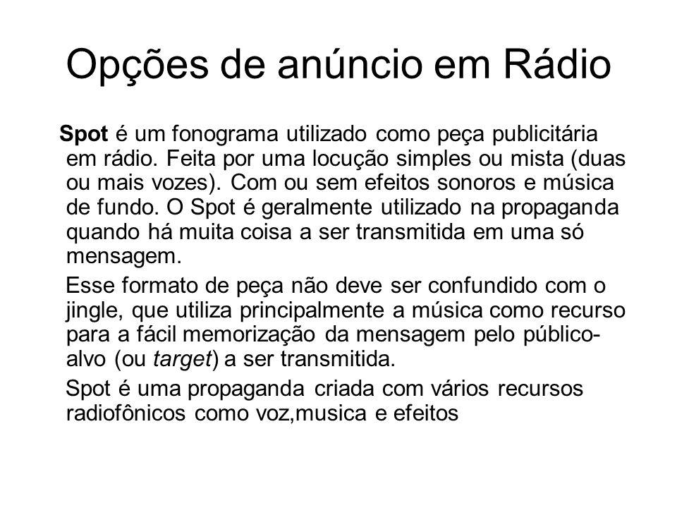 Opções de anúncio em Rádio