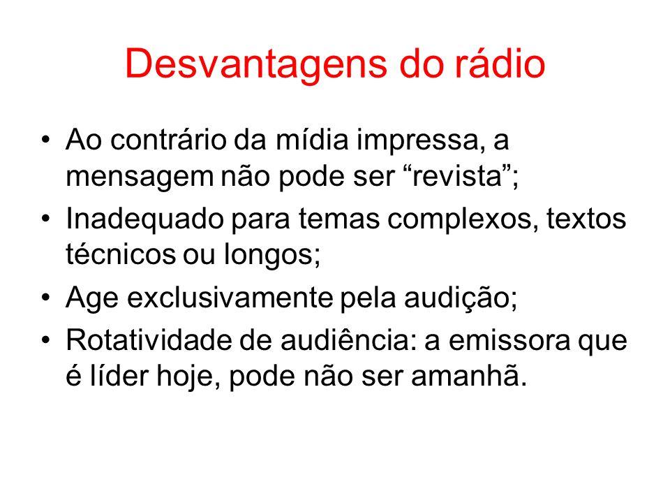 Desvantagens do rádio Ao contrário da mídia impressa, a mensagem não pode ser revista ; Inadequado para temas complexos, textos técnicos ou longos;