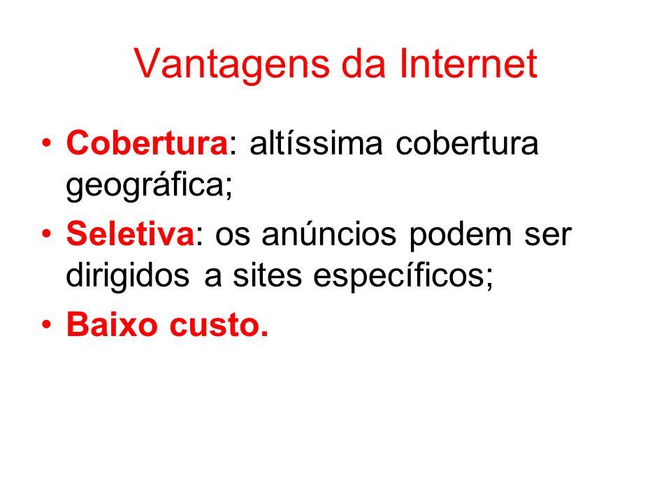 Vantagens da Internet Cobertura: altíssima cobertura geográfica;